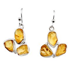 15.80cts yellow citrine rough 925 sterling silver dangle earrings jewelry r16959
