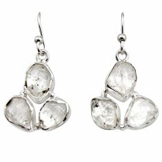 15.39cts natural white herkimer diamond 925 silver dangle earrings r16961