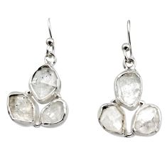 925 silver 14.90cts natural white herkimer diamond dangle earrings r16967