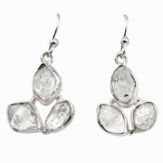 925 silver 15.39cts natural white herkimer diamond dangle earrings r16970