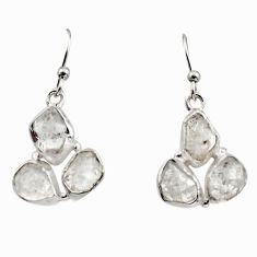 13.50cts natural white herkimer diamond 925 silver dangle earrings r16972