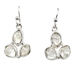 925 silver 12.05cts natural white herkimer diamond dangle earrings r16974