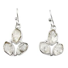 13.50cts natural white herkimer diamond 925 silver dangle earrings r16977