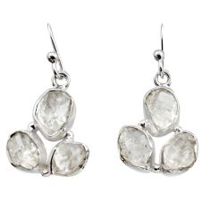 925 silver 14.33cts natural white herkimer diamond dangle earrings r16978