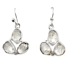 13.04cts natural white herkimer diamond 925 silver dangle earrings r16979