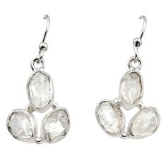 13.82cts natural white herkimer diamond 925 silver dangle earrings r16980