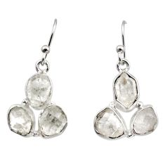 14.40cts natural white herkimer diamond 925 silver dangle earrings r16983