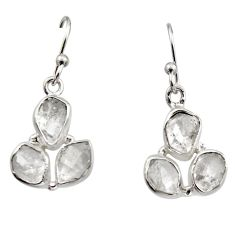 925 silver 12.14cts natural white herkimer diamond dangle earrings r16984