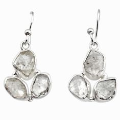 13.87cts natural white herkimer diamond 925 silver dangle earrings r16985