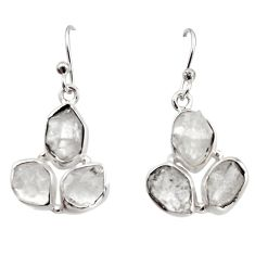 925 silver 14.88cts natural white herkimer diamond dangle earrings r16987