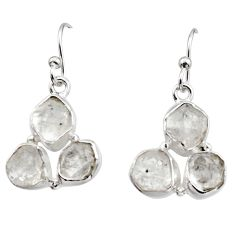925 silver 13.87cts natural white herkimer diamond dangle earrings r16991