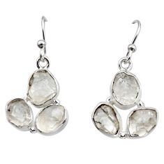 13.41cts natural white herkimer diamond 925 silver dangle earrings r16993