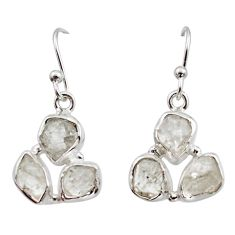 925 silver 12.60cts natural white herkimer diamond dangle earrings r16995