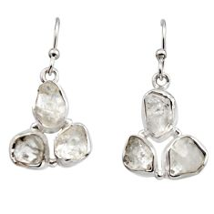13.55cts natural white herkimer diamond 925 silver dangle earrings r16996