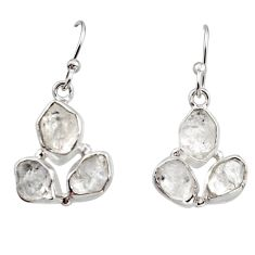 925 silver 12.95cts natural white herkimer diamond dangle earrings r16998