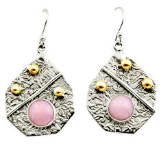 6.15cts victorian natural pink opal 925 silver two tone dangle earrings r17241