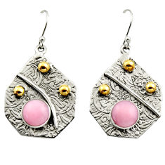 6.12cts victorian natural pink opal 925 silver two tone dangle earrings r17242