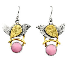 6.02cts victorian natural pink opal 925 silver two tone dangle earrings r17245