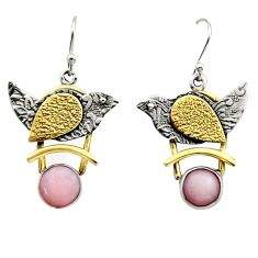 925 silver 6.00cts victorian natural pink opal two tone dangle earrings r17246