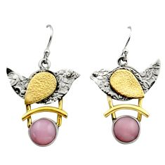 5.82cts victorian natural pink opal 925 silver two tone dangle earrings r17247