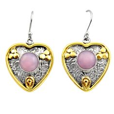 5.83cts victorian natural pink opal 925 silver two tone heart earrings r17248