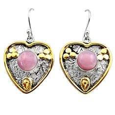 5.99cts victorian natural pink opal 925 silver two tone heart earrings r17249