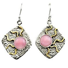 5.83cts victorian natural pink opal 925 silver two tone dangle earrings r17250