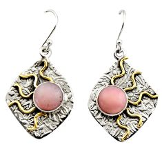 925 silver 6.31cts victorian natural pink opal two tone dangle earrings r17251