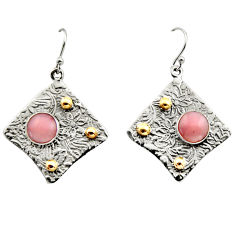 6.56cts victorian natural pink opal 925 silver two tone dangle earrings r17253