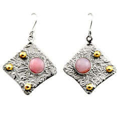 925 silver 6.20cts victorian natural pink opal two tone dangle earrings r17254