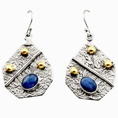 4.61cts victorian natural blue kyanite 925 silver two tone earrings r17261