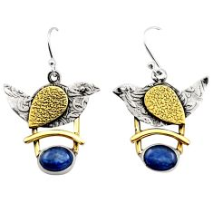 4.34cts victorian natural blue kyanite silver two tone dangle earrings r17263