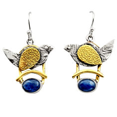 925 silver 4.21cts victorian natural blue kyanite two tone earrings r17264
