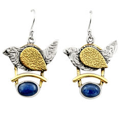 4.35cts victorian natural blue kyanite silver two tone dangle earrings r17266