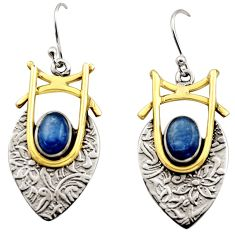 4.38cts victorian natural blue kyanite 925 silver two tone earrings r17269