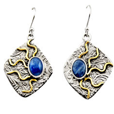 4.55cts victorian natural blue kyanite 925 silver two tone earrings r17272