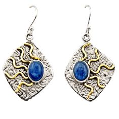 4.52cts victorian natural blue kyanite 925 silver two tone earrings r17273