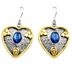 4.48cts victorian natural blue kyanite silver two tone dangle earrings r17274