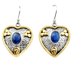 4.44cts victorian natural blue kyanite 925 silver two tone earrings r17276