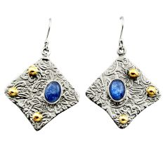 5.00cts victorian natural blue kyanite 925 silver two tone earrings r17278