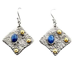 4.48cts victorian natural blue kyanite silver two tone dangle earrings r17279