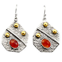 4.61cts victorian natural orange sunstone 925 silver two tone earrings r17281