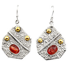 4.73cts victorian natural orange sunstone 925 silver two tone earrings r17282