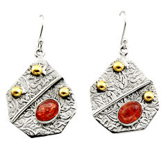 4.61cts victorian natural orange sunstone 925 silver two tone earrings r17283