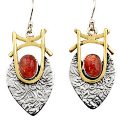 925 silver 4.22cts victorian natural orange sunstone two tone earrings r17284