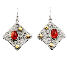 4.48cts victorian natural orange sunstone 925 silver two tone earrings r17294