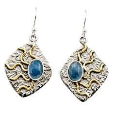4.54cts victorian natural blue aquamarine 925 silver two tone earrings r17302
