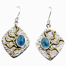 4.38cts victorian natural blue aquamarine 925 silver two tone earrings r17304