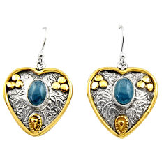 925 silver 4.13cts victorian natural blue aquamarine two tone earrings r17305