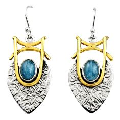 4.70cts victorian natural blue aquamarine 925 silver two tone earrings r17307